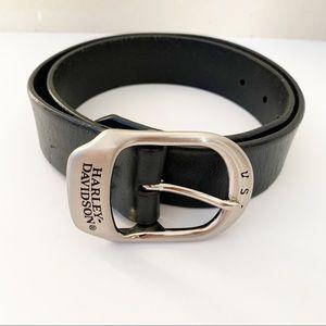 Harley Davidson Leather Belt Silver Buckle Basic